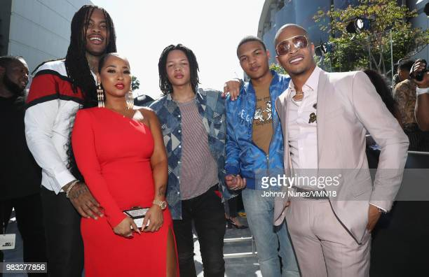 "Waka Flocka, Tammy Rivera, Domani Harris, Messiah Harris, and Clifford ""T.I."" Harris are seen at the 2018 BET Awards at Microsoft Theater on June 24,..."