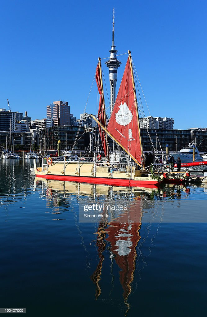 Waka Tapu departs from Viaduct Harbour, for a four month return voyage to Rapa Nui (Easter Island), on August 17, 2012 in Auckland, New Zealand. The 10,000 nautical mile voyage will retrace the ancestors of Maori when they first travelled across the Pacific to make their home in New Zealand.