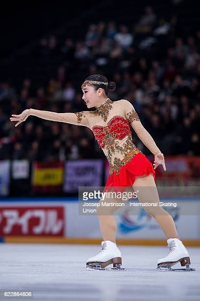 Wakaba Higuchi of Japan competes during Ladies Free Skating on day two of the Trophee de France ISU Grand Prix of Figure Skating at Accorhotels Arena...