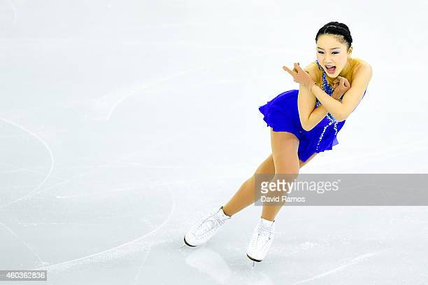 Wakaba Higuchi of Japan competes in the Junior Ladies Free Skating Final during day two of the ISU Grand Prix of Figure Skating Final 2014/2015 at...