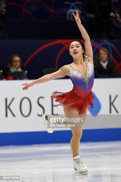 Wakaba Higuchi of Japan competes in the Ladies Short Program on day one of the World Figure Skating Championships at the Mediolanum Forum on March 21...