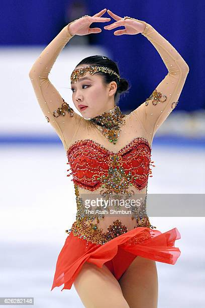 Wakaba Higuchi of Japan competes in the Ladies Singles Free Skating during day two of the ISU Grand Prix of Figure Skating NHK Trophy at Makomanai...