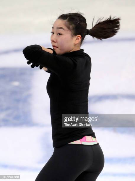 Wakaba Higuchi of Japan in action during a practice session ahead of the World Figure Skating Championships at Hartwall Arena on March 28 2017 in...