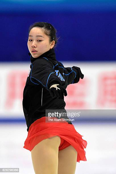 Wakaba Higuchi of Japan in action during a practice session prior to competing in Ladies Singles free skating during day two of the ISU Grand Prix of...
