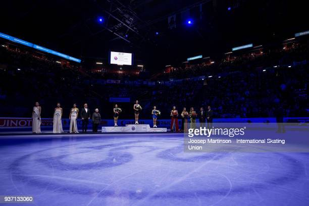 Wakaba Higuchi of Japan Kaetlyn Osmond of Canada and Satoko Miyahara of Japan pose in the Ladies medal ceremony during day three of the World Figure...
