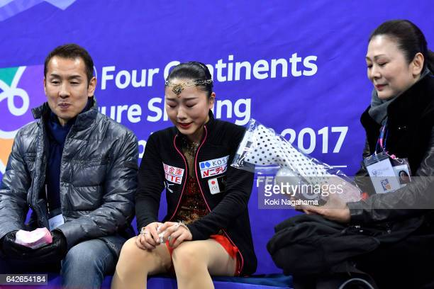 Wakaba Higuchi of Japan looks dejected at the kiss and cry after the Ladies Free Skating during ISU Four Continents Figure Skating Championships...