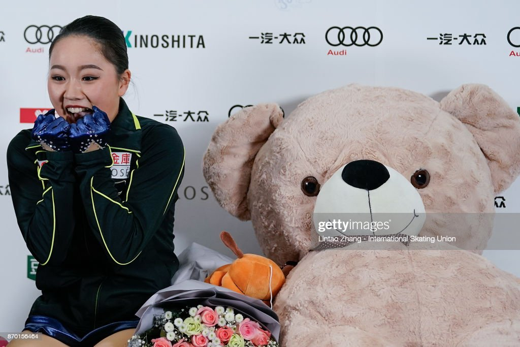 Wakaba Higuchi of Japan reacts after competing in the Ladies Free Skating on day two of Audi Cup of China ISU Grand Prix of Figure Skating 2017 at Beijing Capital Gymnasium on November 4, 2017 in Beijing, China.