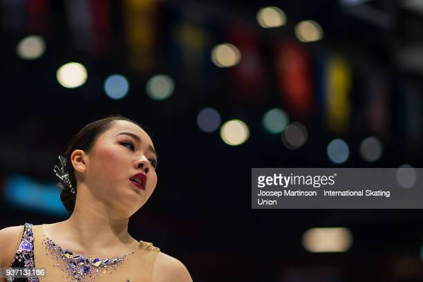 Wakaba Higuchi of Japan reacts in the Ladies Free Skating during day three of the World Figure Skating Championships at Mediolanum Forum on March 23...