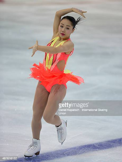 Wakaba Higuchi of Japan skates during the junior ladies short program of the ISU Junior Grand Prix of figure skating on September 10 2015 in Linz...