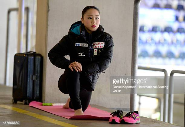 Wakaba Higuchi of Japan warms up during the junior ladies short program of the ISU Junior Grand Prix of figure skating on September 10 2015 in Linz...