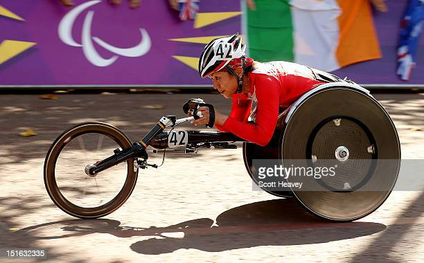 Wakako Tsuchida of Japan in action during the T54 Women's Marathon on day 11 of the London 2012 Paralympic Games on The Mall on September 9 2012 in...