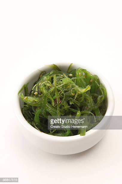 wakame algae, side dish for sushi - seaweed stock pictures, royalty-free photos & images