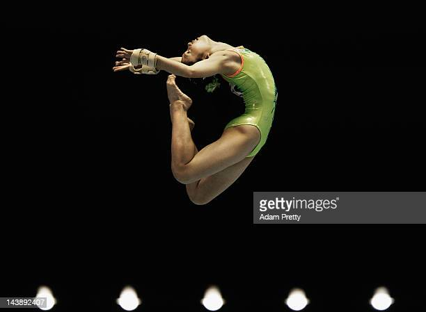 Wakana Inoue of Japan performs her balance beam routine during day two of the Artistic Gymnastics NHK Trophy at Yoyogi National Gymnasium on May 5...