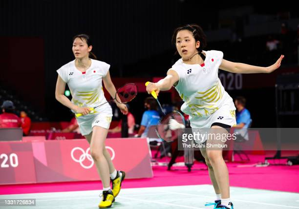 Wakana Nagahara and Mayu Matsumoto of Team Japan compete in the Women's Doubles quarter final against Kim Soyeong and Kong Heeyoung of Team South...