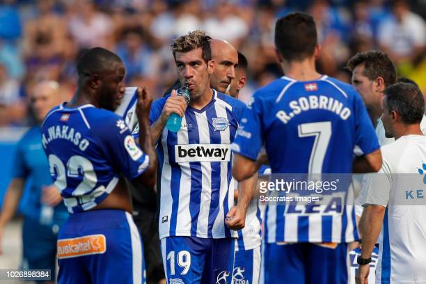 Wakaso Mubarak of Deportivo Alaves CF Manuel Alejandro Garcia of Deportivo Alaves CF Ruben Sobrino Pozuelo of Deportivo Alaves CF during the La Liga...