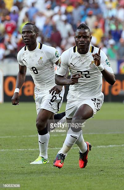 Wakaso Mubarak of Gana celebrates scoring a penalty during the 2013 Africa Cup of Nations QuarterFinal match between Ghana and Cape Verde at the...