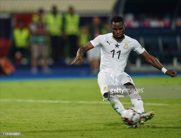 Wakaso Mubarak of Ghana shooting a penalty during the 2019 African Cup of Nations match between Ghana and Tunisia at the Ismailia Stadium in...