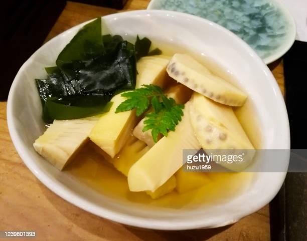 wakatakeni (simmered bamboo shoots and seaweed), japanese traditional food - nimono bildbanksfoton och bilder