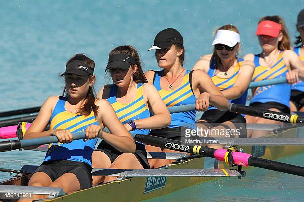 Wakatipu Girls compete in the Coxed Eight during the 2013 Meridian Otago Championships at Lake Ruataniwha on December 14, 2013 in Otago Harbour, New...