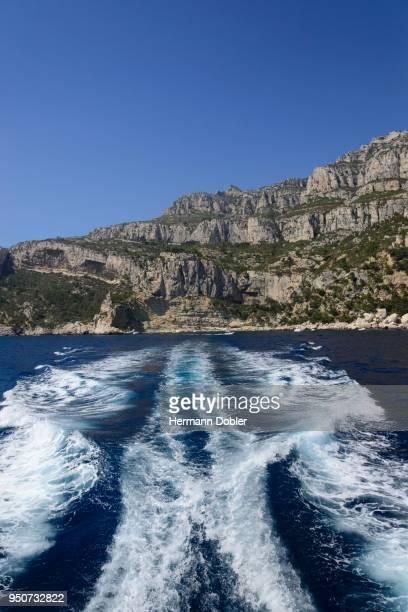 Wake behind a boat, Mediterranean, Calanques National Park, Marseille, Provence, Cote dAzur, France