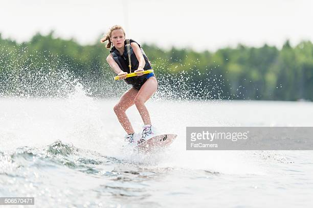 wake boarding - waterskiing stock photos and pictures