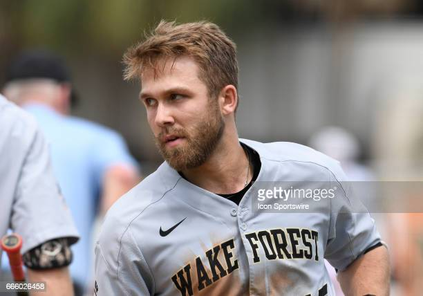 Wake Forest catcher Logan Harvey hit a home run during a college baseball game between the wake Forest University Demon Deacons and the University of...