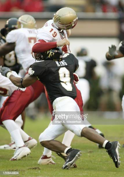 Wake Forest corner back Eric King hits Florida State quarterback Wyatt Sexton to cause a fumble that was returned by Brad White for a touchdown late...