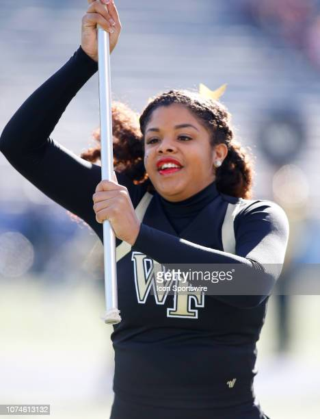 Wake Forest Demon Deacons cheerleader runs with a flag during the game between the Wake Forest Demon Deacons and Memphis Tigers on December 22 2018...