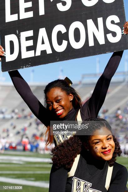 Wake Forest Demon Deacons cheerleaders pose for a photo during the game between the Wake Forest Demon Deacons and Memphis Tigers on December 22 2018...