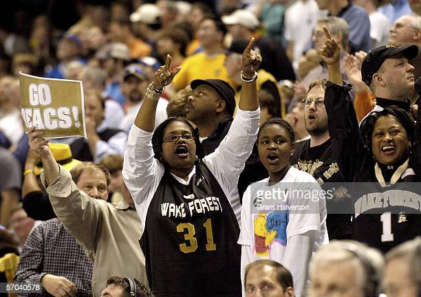 Wake Forest Demon Deacons fans celebrate during a 7866 win over the Florida State Seminoles during day 1 of the Atlantic Coast Conference Men's...