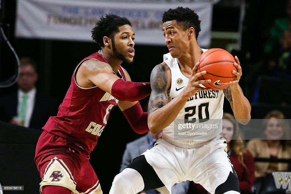 Wake Forest Demon Deacons forward John Collins (20) works the ball inside against Boston College Eagles forward Mo Jeffers (15) on January 3, 2017 at Lawrence Joel Veterans Memorial Coliseum in Winston-Salem, NC. Wake wins 79-66 over Boston College.