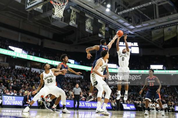Wake Forest Demon Deacons guard Brandon Childress takes a jump shot over Virginia Cavaliers forward Isaiah Wilkins during the ACC matchup on January...