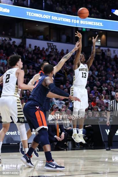 Wake Forest Demon Deacons guard Bryant Crawford takes a long jumper against the Virginia Cavaliers during the ACC matchup on January 21 2018 between...
