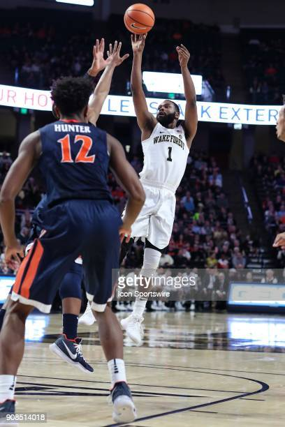 Wake Forest Demon Deacons guard Keyshawn Woods shoots from the top of the key against the Virginia Cavaliers during the ACC matchup on January 21...