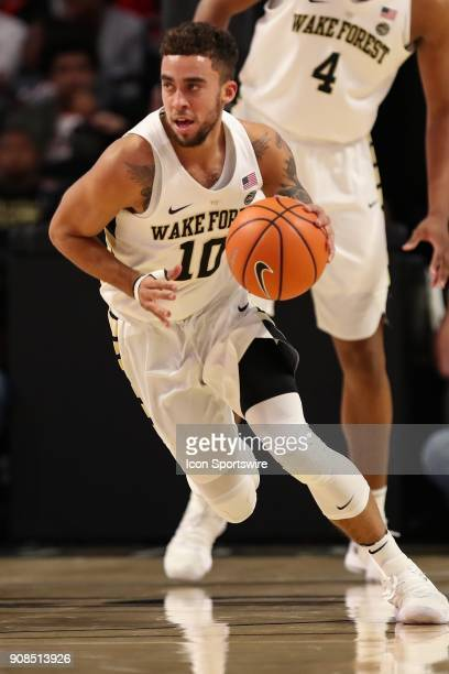 Wake Forest Demon Deacons guard Mitchell Wilbekin brings the ball up court against the Virginia Cavaliers during the ACC matchup on January 21 2018...