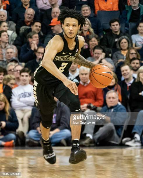 Wake Forest Demon Deacons Guard Sharone Wright Jr dribbles the ball up the court during the second half of the Wake Forest Demon Deacons versus the...