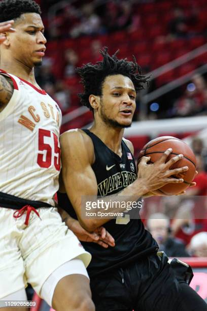 Wake Forest Demon Deacons guard Sharone Wright Jr during the college basketball game between Wake Forest Demon Deacons and North Carolina State...