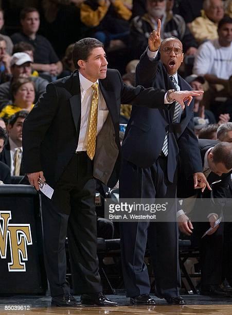 Wake Forest Demon Deacons head coach Dino Gaudio and assistant head coach Jeff Battle yell out instructions during first half action versus the...