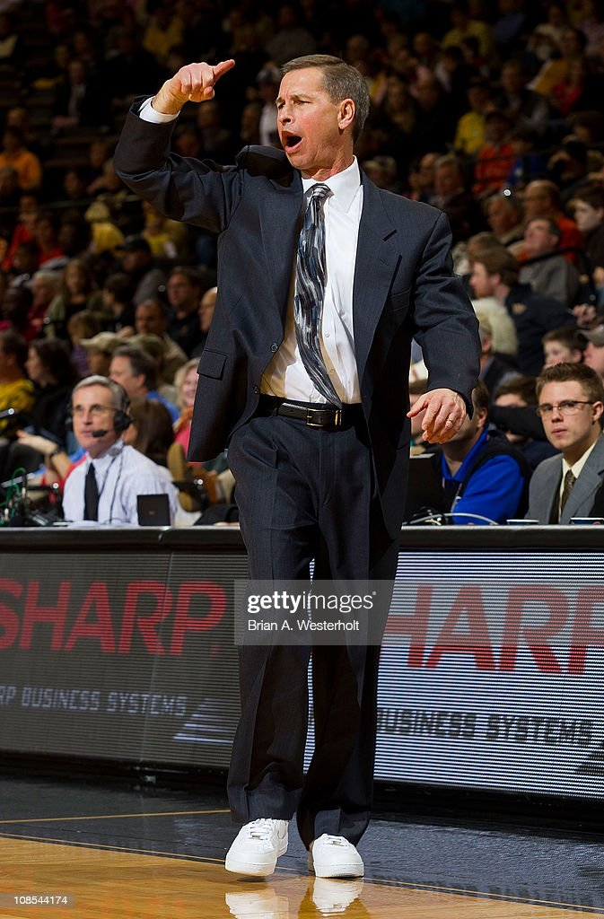 Wake Forest Demon Deacons head coach Jeff Bzdelik calls out a play during second half action against the Virginia Cavaliers at the Lawrence Joel Coliseum on January 29, 2011 in Winston Salem, North Carolina. The Demon Deacons defeated the Cavaliers 76-71.