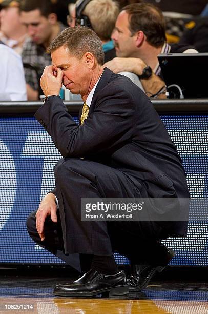 Wake Forest Demon Deacons head coach Jeff Bzdelik reacts to a play late in the second half against the Duke Blue Devils on January 22 2011 at...