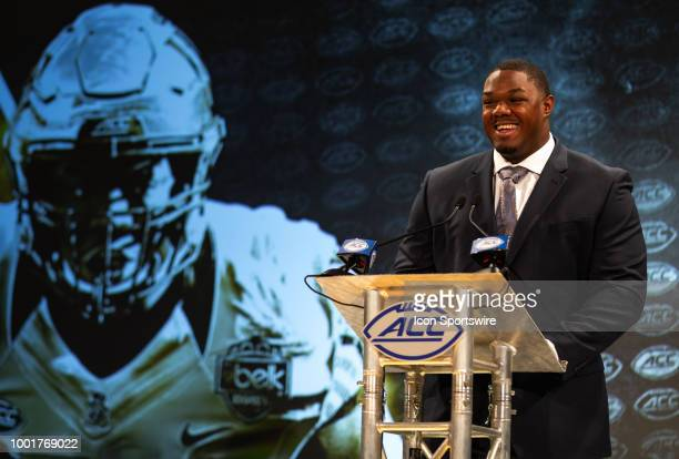 Wake Forest Demon Deacons OL Phil Haynes addresses the media during the ACC Football Kickoff on July 19 at The Westin Charlotte in Charlotte NC