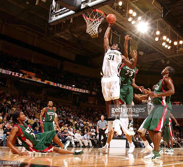 Wake Forest forward Eric Williams goes up strong to slam home 2 of his game high 22 points versus Mississippi Valley State in the 2K Sports College...