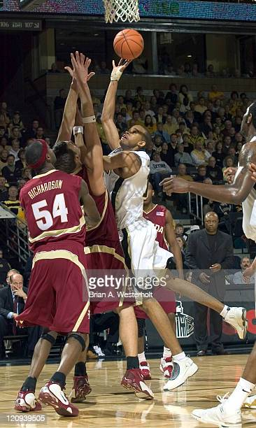 Wake Forest forward Jamaal Levy tries to shoot over Florida State forwards Adam Waleskowski and Anthony Richardson during first half at the Lawrence...