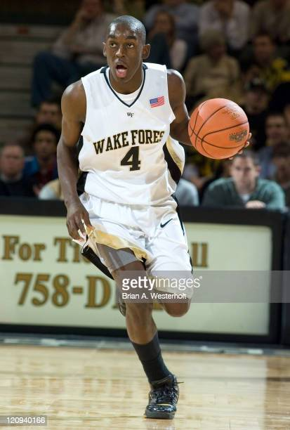 Wake Forest freshman point guard Harvey Hale pushes the ball upcourt during second half action versus Princeton at the LJVM Coliseum in WinstonSalem...