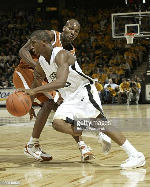 Wake Forest guard Chris Paul drives past Texas guard Sydmill Harris during first half action at the LJVM Coliseum in WinstonSalem NC December 18 2004