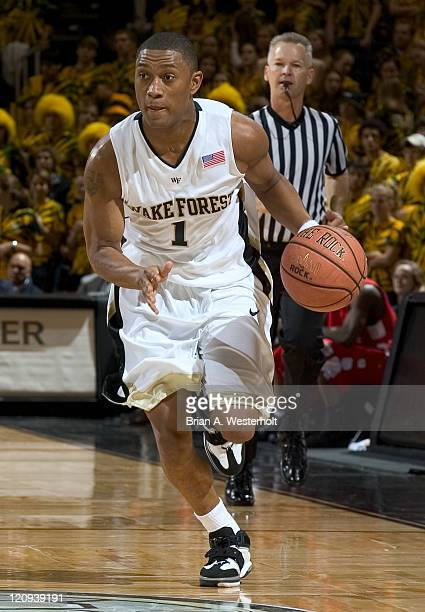 """Wake Forest guard Justin Gray brings """"The Rock"""" up court during the second half of the Demon Deacons 88-84 win over Winston-Salem State at the LJVM..."""