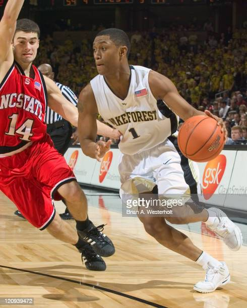Wake Forest guard Justin Gray drives the baseline past North Carolina State guard Engin Atsur during second half action at the LJVM Coliseum in...