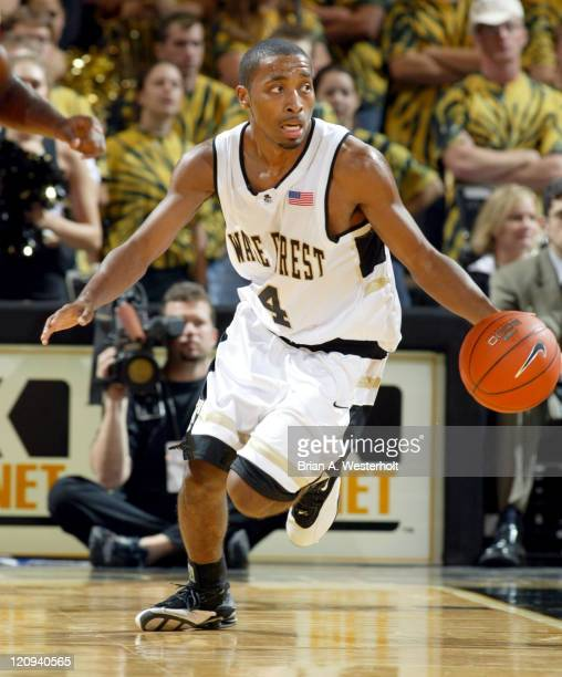 Wake Forest guard Taron Downey brings the ball up court during the second half of the Demon Deacons 9755 victory over the Elon Phoenix Downey...