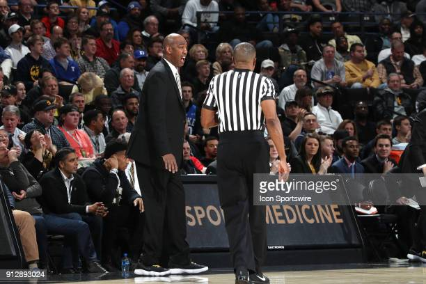 Wake Forest head coach Danny Manning complains to referee Ted Valentine The Wake Forest University Demon Deacons hosted the Duke University Blue...