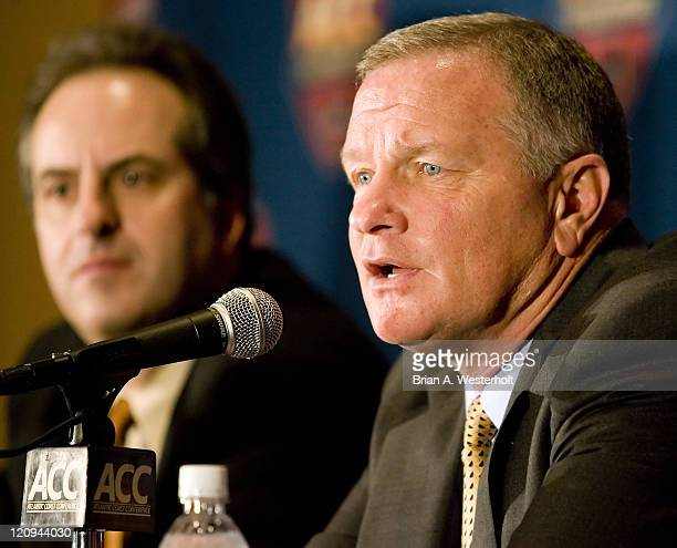 Wake Forest head coach Jim Grobe answers questions at a press conference following the 2006 ACC Football Awards Luncheon at the Hyatt Regency in...